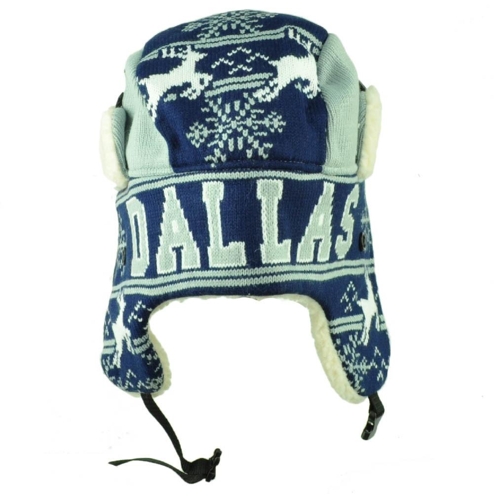 22b756bd9e0e9 Dallas Trapper Aviator Knit Beanie Fleece Nordic Hat Ear Flap Texas Navy  Gray. Your Price   18.95 (You save  9.05). Image 1. Larger   More Photos