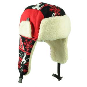 Atlanta Trapper Aviator Knit Beanie Fleece Nordic Hat Red Black Ear Flap City