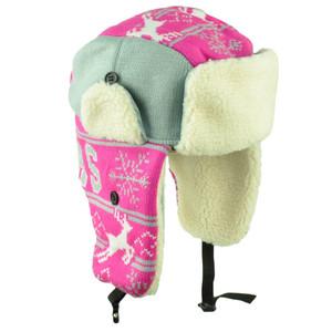 00b140fed83e2 Dallas Trapper Aviator Knit Beanie Fleece Nordic Hat Ear Flap City Pink  Womens