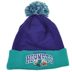 Mitchell Ness KH57 Charlotte Hornets Cuffed Pom Pom Knit Beanie Skully Purple