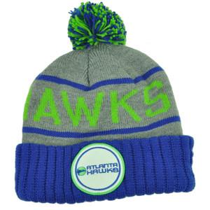 Mitchell Ness Atlanta Hawks Cuffed Pom Pom Knit Beanie Skully Blue Gray Winter