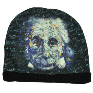 Albert Einstein Physicist Equations Sublimated Knit Beanie Cuffless Toque Hat
