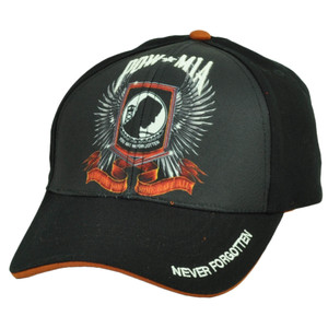 Pow Mia You Are Not Forgotten Sublimated Hat Cap Black Military War Adjustable