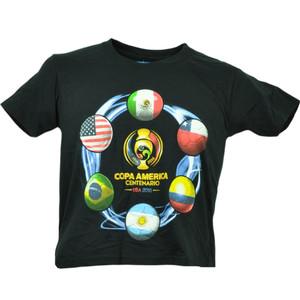 Copa America Centenario USA 2016 Tshirt Tee Soccer Futbol Kids Black Final Six