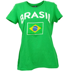 Brasil Copa America Centenario USA 2016 Tshirt Tee Green Womens Soccer Futbol
