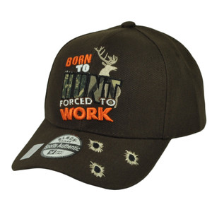 Born To Hunt Forced To Work Hunting Hunter Bullet  Brown Hat Cap Camping