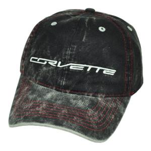 Corvette Dark Denim Wash Black Relaxed Sun Buckle Hat Cap General Motors Car