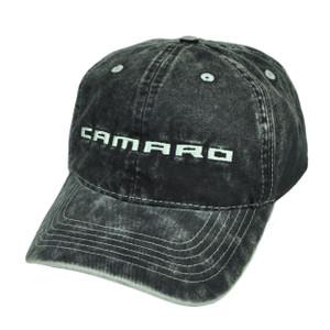 Camaro Dark Denim Wash Black Relaxed Sun Buckle Hat Cap General Motors Cars