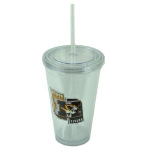 NCAA Missouri Tigers Tumbler Cup Straw Lid 16oz Water Liquid Plastic Sip N Go