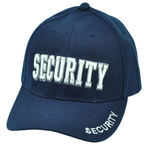 Security Guard Law Officer Bodyguard Velcro Constructed Navy Blue White Hat Cap