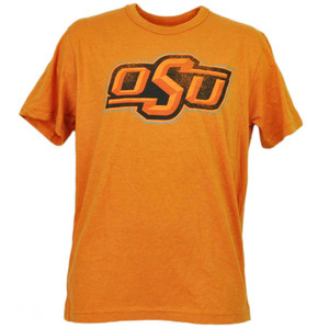 NCAA Oklahoma State Cowboys Orange Tshirt Tee Distressed Logo Short Sleeve Sport