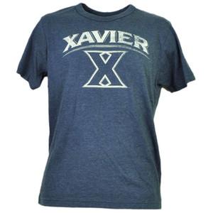 NCAA Xavier Musketeers Blue Distressed Logo Tshirt Tee Mens Adult Short Sleeve