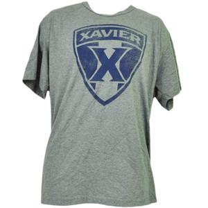 NCAA Xavier Musketeers Gray Distressed Logo Tshirt Tee Mens Adult Short Sleeve