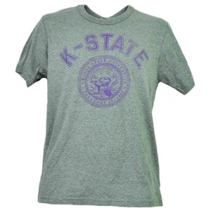 NCAA Kansas State Wildcats Gray Tshirt Tee Mens Short Sleeve Crew Neck Sports