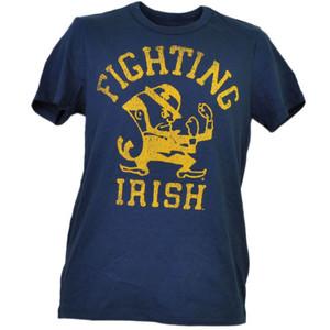 NCAA Notre Dame Fighting Irish Distressed Navy Blue Tshirt Tee Mens Crew Neck