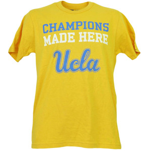 NCAA UCLA Bruins Champions Made Here Tshirt Tee Mens Adults Yellow Short Sleeve