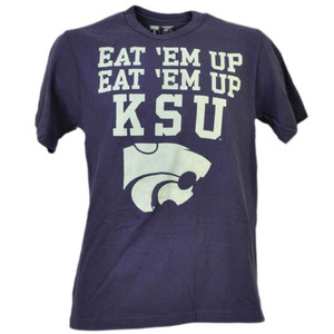 NCAA Kansas State Wildcats Eat Em Up KSU Purple Tshirt Tee Mens Short Sleeve
