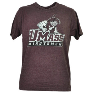 NCAA Massachusetts Minutemen UMASS Tshirt Tee Burgundy Short Sleeve Sports Mens
