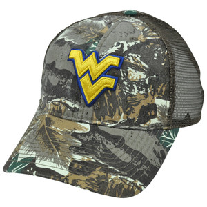 NCAA West Virgina Mountaineers Camo Fox Mesh Adjustable Hat Cap Semi Constructed
