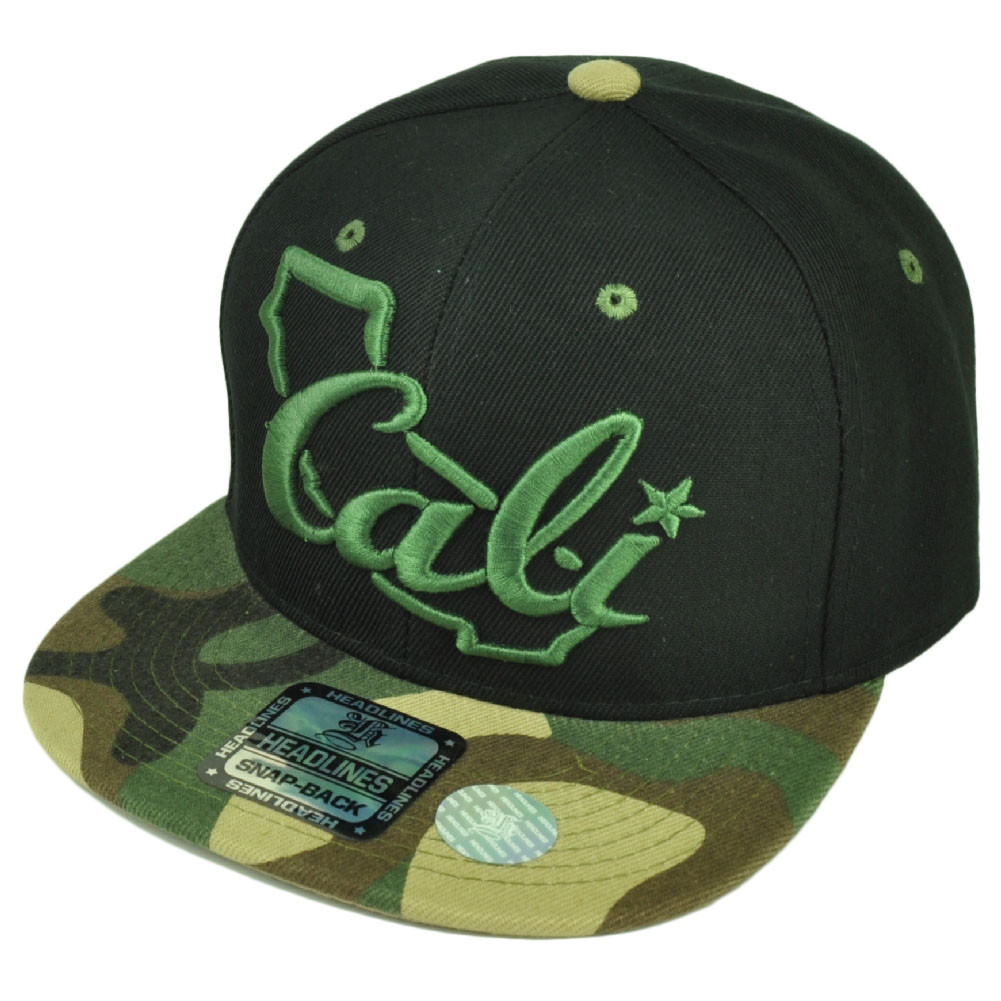 8bf1cdb6042 Cali California Republic Map 3D Logo Flat Bill Hat Cap Snapback Black Green  Camo. Your Price   14.95 (You save  10.00). Image 1