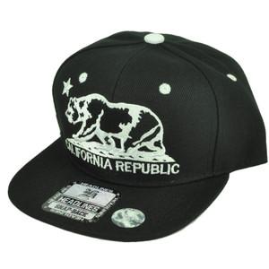 Cali California Republic Bear Flat Bill Hat Cap Snapback Youth Kids Black White