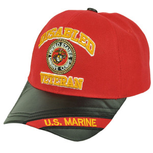 Disabled Veteran United States Marine Corps Red Pleather Visor Hat Cap Military