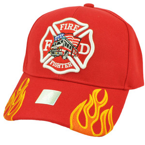Fire Fighter Department Flames Rescue Dept Adjustable Red Hat Cap Fireman