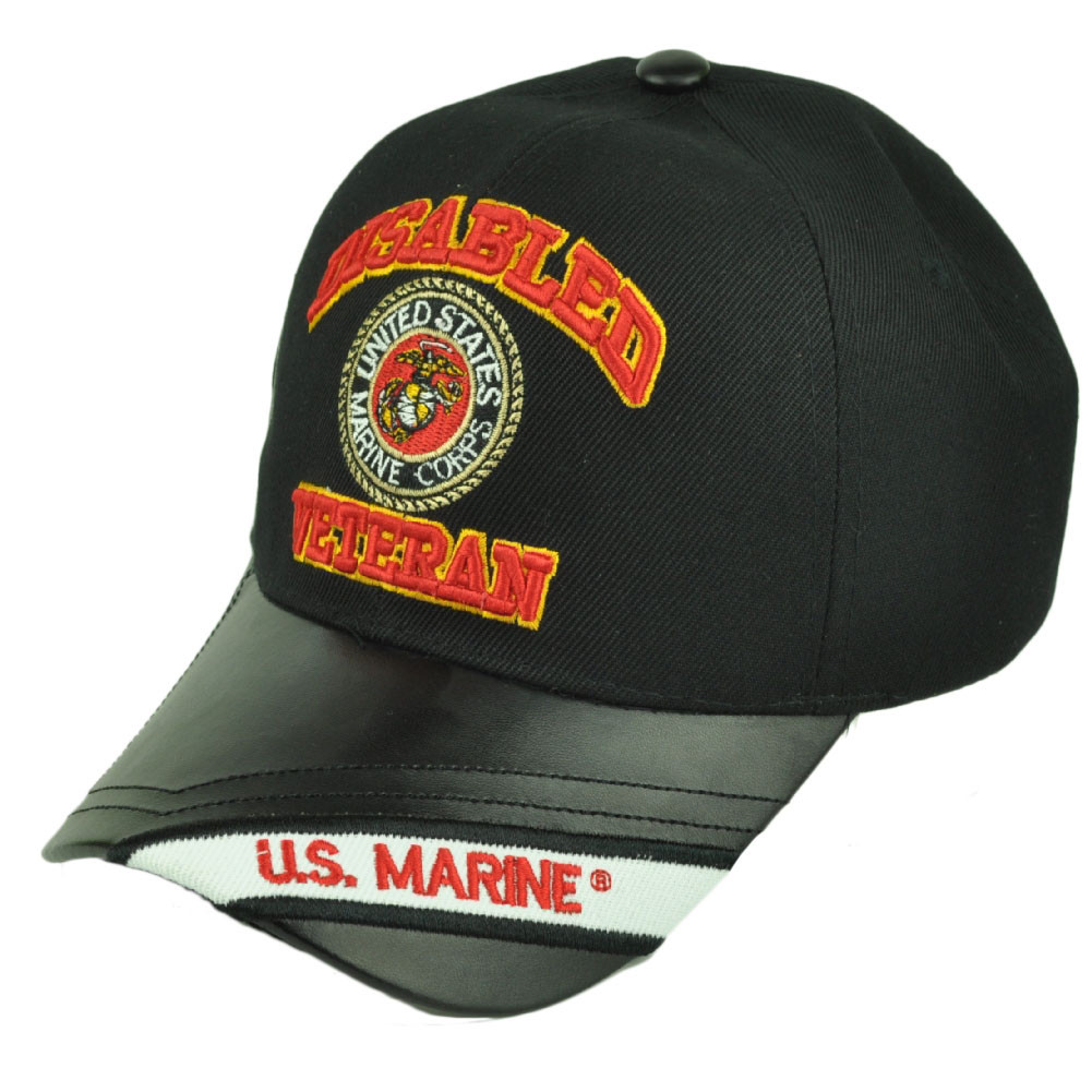 48ddcf6c05e15 Disabled Veteran United States Marine Corps Black Pleather Visor Hat Cap  Military. Your Price   14.95 (You save  15.04). Image 1