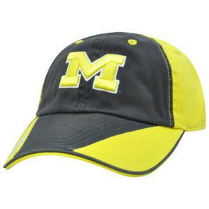 NCAA Michigan Wolverines Flip Garment Wash Sun Buckle Navy Blue Relaxed Hat Cap