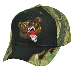 Bear Grizzly Outdoors Hunting Camouflage Camo Flames Hat Black Cap Wild Animal