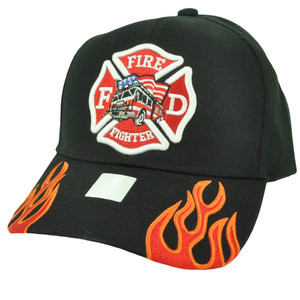 Fire Fighter Department Flames Rescue Dept Adjustable Black Hat Cap Fireman