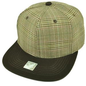 ea13a839bee Brown Plaid Snapback Flat Bill Blank Hat Cap Plain Khaki Adjustable Cotton