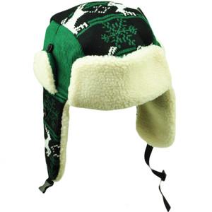 a61855b907a38 Philadelphia Trapper Aviator Knit Beanie Fleece Nordic Hat Ear Flap Black  Green