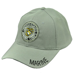 518be580f0cde U.S United States Marine Corps Marines Military Adjustable Hat Cap Light  Gray