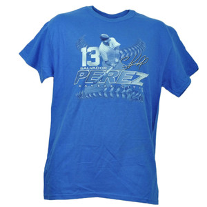 Kansas City Royals Salvador Perez 13 Player Signature Blue Tshirt Tee Baseball