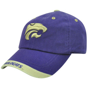 NCAA Kansas State Wildcats Garment Washed Khaki Tip Purple Sun Buckle Hat Cap