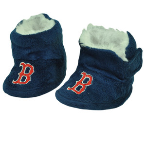 Boston Red Sox Infant Baby Faux Fur Sport Team Slippers Warm Booties Navy Blue