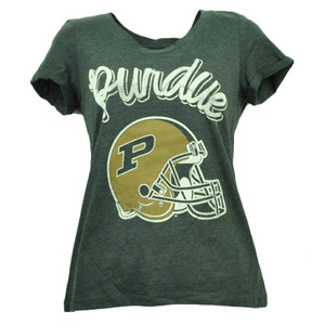 Purdue Boilermakers Distressed Womens Tshirt Tee Helmet Short Sleeve Crew Neck