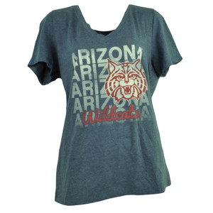 NCAA Arizona Wildcats Repeat Logo Womens Vneck Tshirt Tee Navy Blue Short Sleeve