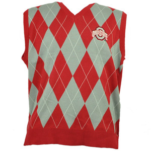 NCAA Ohio State Buckeyes Argyle Print Sweater Vest Mens Red Gray Cotton V Neck
