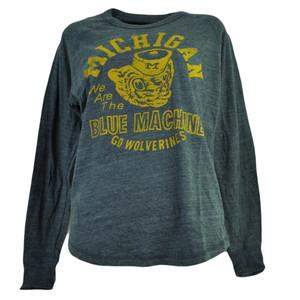 NCAA Michigan Wolverines Long Sleeve Tshirt Tee Womens Loose Fit Navy Blue