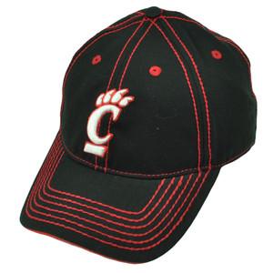 NCAA Cincinnati Bearcats Platinum Clean Up Black Hat Cap Adjustable Curved Bill