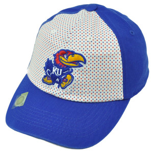 NCAA Kansas Jayhawks 2 Tone Polka Dots Womens Hat Cap Blue White Relaxed Slouch