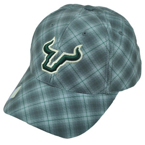 NCAA South Florida Bulls Plaid Pattern Gray Hat Cap Mens USF Adjustable Headwear