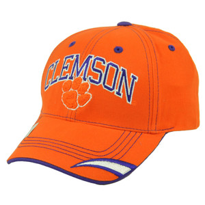 NCAA Clemson Tigers Orange Hat Cap Adjustable Headgear Curved Bill Football