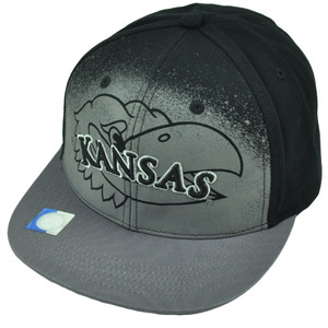 NCAA Kansas Jayhawks Black Hat Cap Gray Flat Bill Adjustable Printed Logo KU