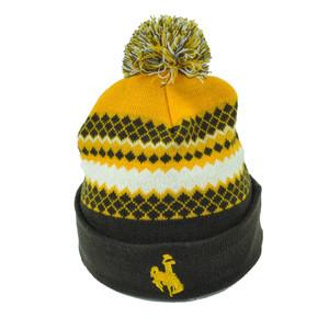 NCAA Wyoming Cowboys Pom Pom Cuffed Knit Beanie Brown Yellow Nordic Print 2 Tone