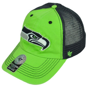 '47 Brand Seattle Seahawks Distressed Mesh Flex Fit One Size Hat Cap Green Navy