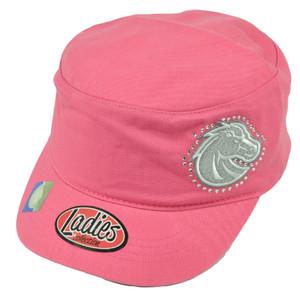 NCAA Boise State Broncos Ladies Cut Women Cadet Style Hat Cap Rhinestone Pink