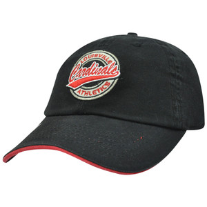 NCAA Louisville Cardinals Cards Garment Washed Black Relaxed Sun Buckle Hat Cap